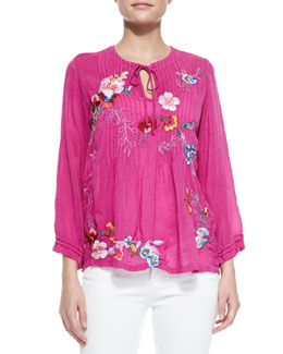 Johnny Was Collection Molly Georgette Embroidered Tunic