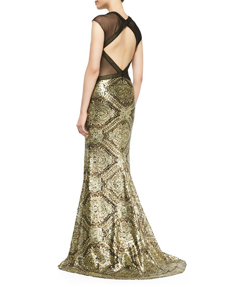 Cap-Sleeve Sequined Baroque Gown