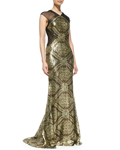 Badgley Mischka Collection Cap-Sleeve Sequined Baroque Gown