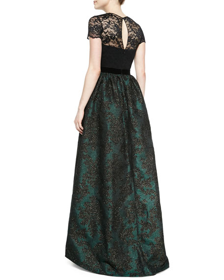 Short-Sleeve Lace Illusion  Gown