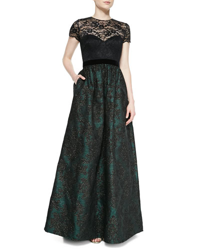 Badgley Mischka Collection Short-Sleeve Lace Illusion  Gown