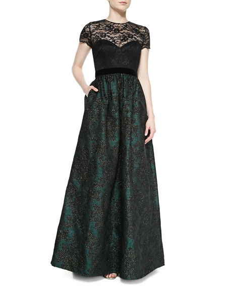 Badgley Mischka Short-Sleeve Lace Illusion Gown