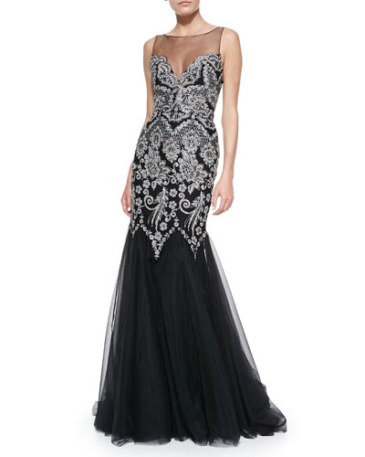 Badgley Mischka Collection Sleeveless Embroidered Top Mermaid Gown