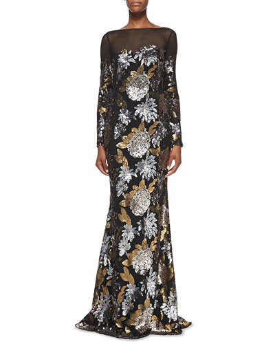 Badgley Mischka Collection Long-Sleeve Floral Sequin Gown