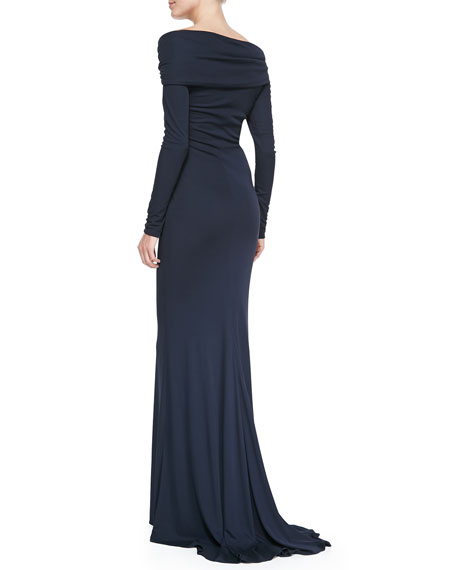 Long-Sleeve Off-Shoulder Gown