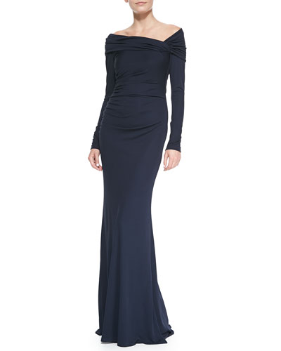 Badgley Mischka Collection Long-Sleeve Off-Shoulder Gown