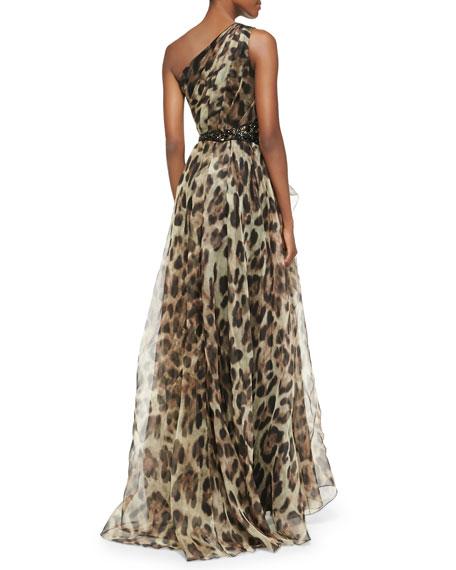 340933072df6 Badgley Mischka One-Shoulder Leopard-Print Gown