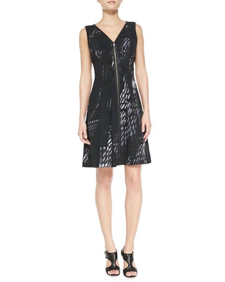 Lucine Sleeveless Front-Zip Dress