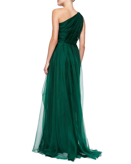 One-Shoulder Draped Gown with Beaded Side Cluster