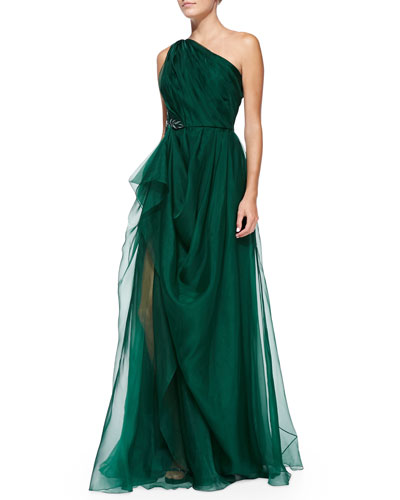 Badgley Mischka Collection One-Shoulder Draped Gown with Beaded Side Cluster