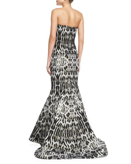 Strapless Animal-Print Mermaid Gown