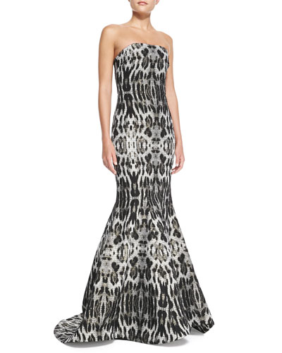 Badgley Mischka Collection Strapless Animal-Print Mermaid Gown