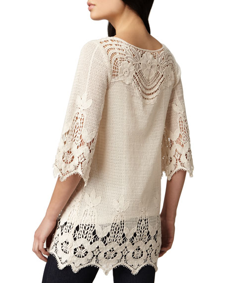 3/4-Sleeve Crochet Tunic, Women's