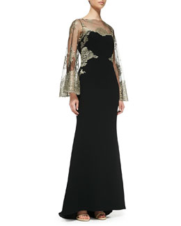 Badgley Mischka Collection Embroidered-Bodice Mermaid Gown