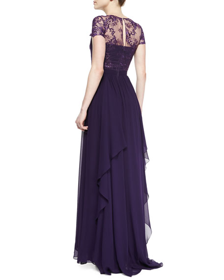 Short-Sleeve Lace-Bodice Illusion Gown