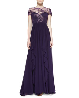 Badgley Mischka Collection Short-Sleeve Lace-Bodice Illusion Gown