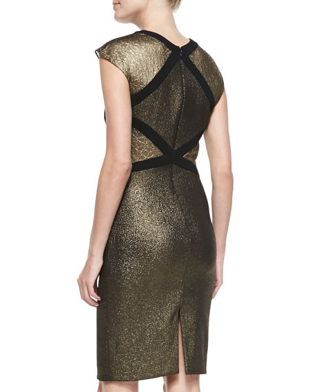 Cap-Sleeve Two-Texture Metallic Cocktail Dress