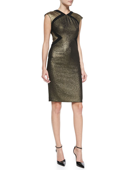 Badgley Mischka Cap-Sleeve Two-Texture Metallic Cocktail Dress