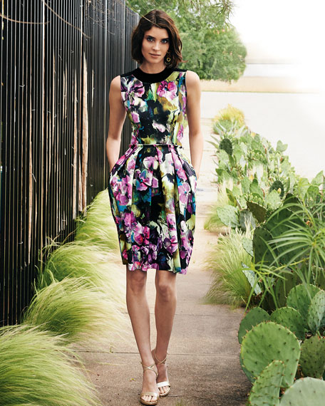 Sleeveless Floral-Print Bell-Skirt Dress