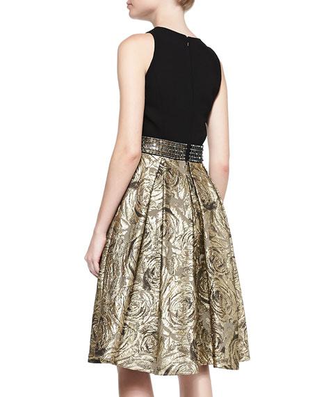 Sleeveless Belted Metallic Jacquard Cocktail Dress