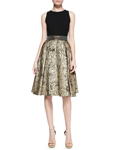 Carmen Marc Valvo Sleeveless Belted Metallic Jacquard Cocktail Dress