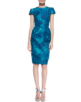 Carmen Marc Valvo Short-Sleeve Floral Jacquard Sheath Dress