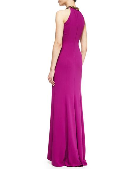 Halter Beaded-Neck  Gown, Violet