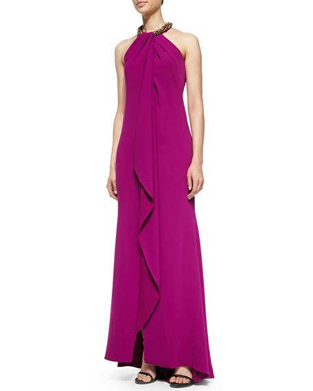 Halter Beaded-Neck  Gown, Violet