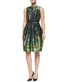 Carmen Marc Valvo Sleeveless Floral-Print Cocktail Dress, Chartreuse