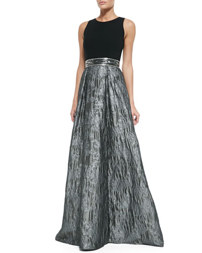 Carmen Marc Valvo Sleeveless Sequined Belted Ball Gown