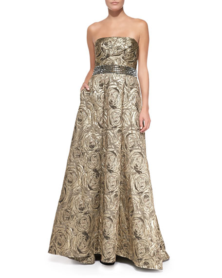 Carmen Marc Valvo Strapless Jacquard Ball Gown, Burnished