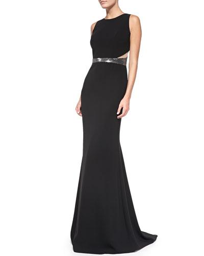 Carmen Marc Valvo Sleeveless Sequined Waist & Back Gown