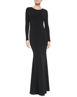 Alice + Olivia Long-Sleeve Maxi Dress With Back Piping Accent