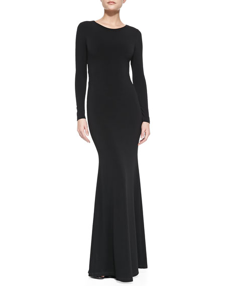 Long-Sleeve Maxi Dress With Back Piping Accent