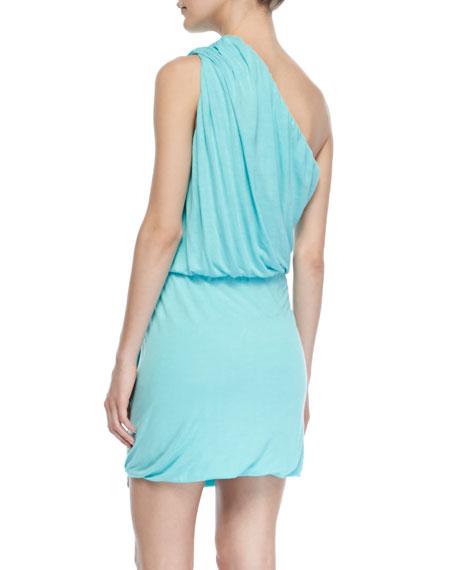 One-Shoulder Sway Dress, Aqua