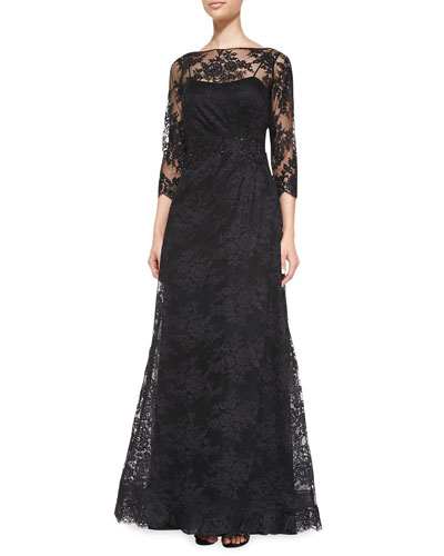 Rickie Freeman for Teri Jon Lace Overlay Ruched-Side Gown