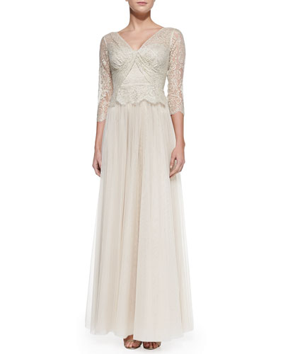 Rickie Freeman for Teri Jon 3/4-Sleeve Lace Illusion Gown