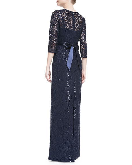 Lace Overlay Gown with Jeweled Waist