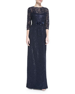 Rickie Freeman for Teri Jon Lace Overlay Gown with Jeweled Waist