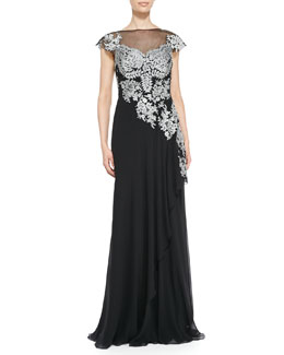 Teri Jon Cap-Sleeve Lace Illusion-Bodice Gown
