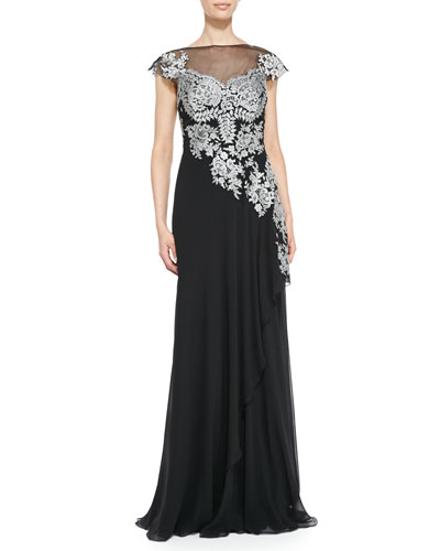 Rickie Freeman for Teri Jon Cap-Sleeve Lace Illusion-Bodice Gown