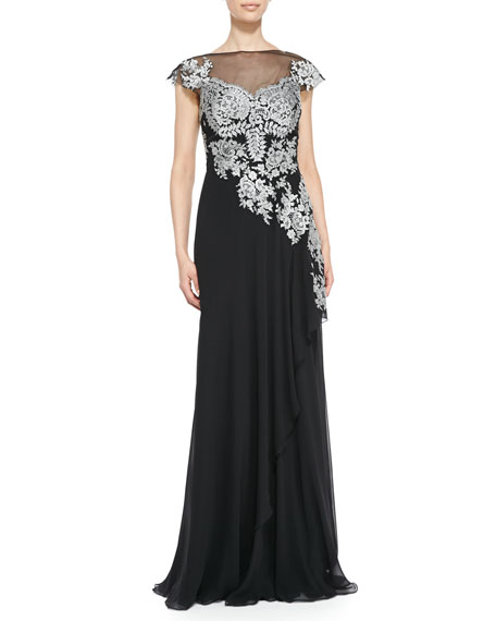 Cap-Sleeve Lace Illusion-Bodice Gown