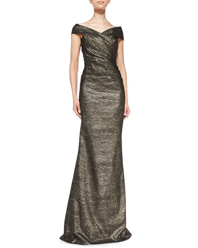 Rickie Freeman for Teri Jon Off-the-Shoulder Metallic Gown