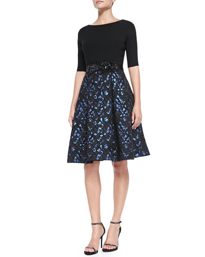 Rickie Freeman for Teri Jon 3/4-Sleeve Snake-Print Skirt Cocktail Dress