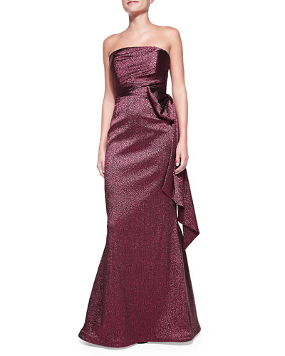 Rickie Freeman for Teri Jon Strapless Side-Bow Gown