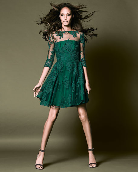 ML Monique Lhuillier 3/4-Sleeve Lace Illusion Cocktail Dress