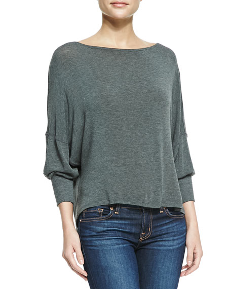 Long-Sleeve Top with Leather Back Strap