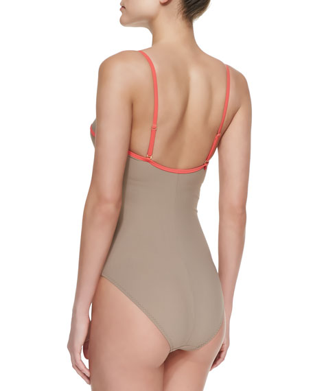 I Dream Of Genie Underwire Maillot Swimsuit, Tan