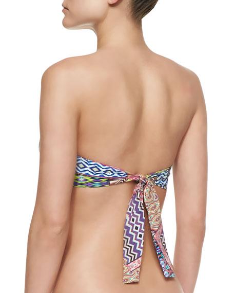 Multi-Printed Pushup Bandeau Swim Top, Multi