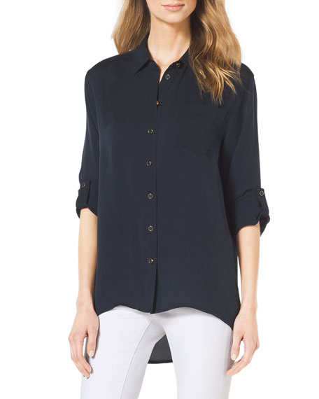 High-Low Button-Front Blouse